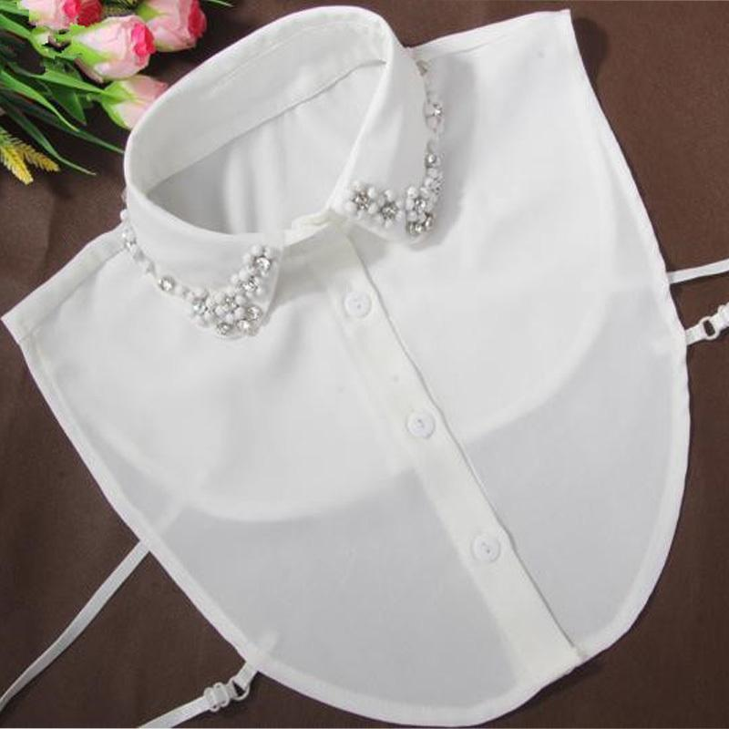 440634ba8cab08 2019 Korean Fashion Women Blouses Collar Pearl Half Collar White ...