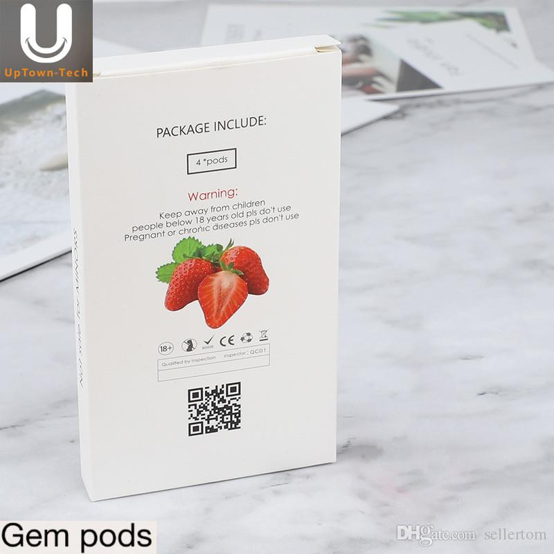 2019 Original uptowntech Gem pods wholesale 1ml large capacity Gem Prefilled pod high quality no leak compatible with pod device