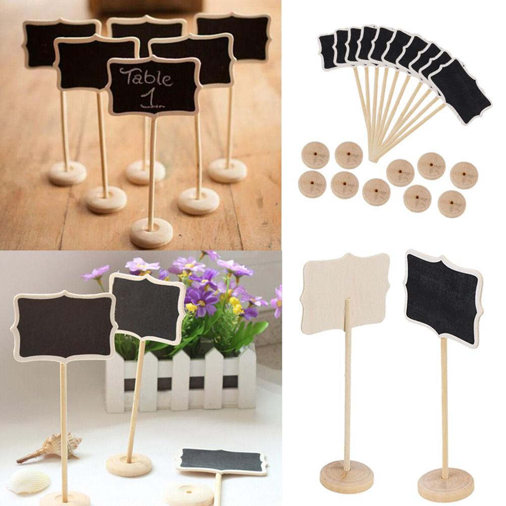 Vintage Mini Wood Table Number for Wedding Event Party Decoration Chalkboard Blackboard Wooden Place Card Holder