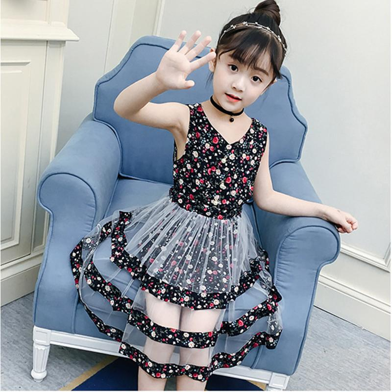 972eb9825afc7 2019 Baby Girls Dress New Princess And Party Dress Children Clothes Print  Sleeveless Cute Baby Girl Summer Clothes Fashion Dress