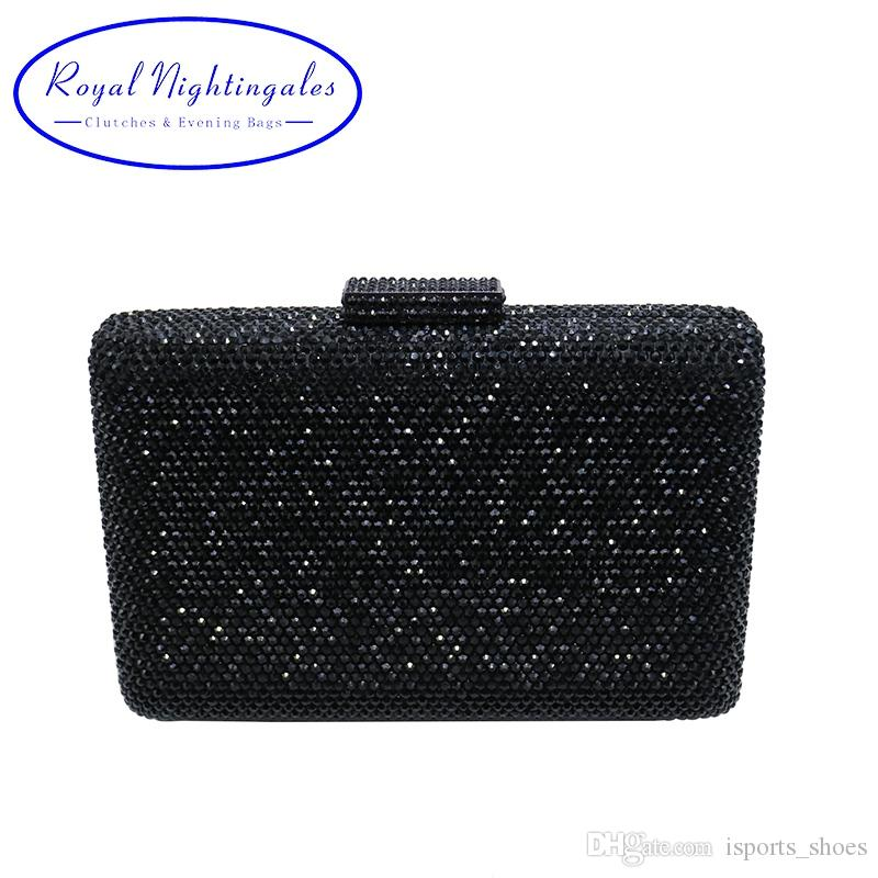 7e3360680e40 Hard Box Clutch Black Evening Purses With Rhinestones Crystal Evening Bags  and Clutch Bags #88815