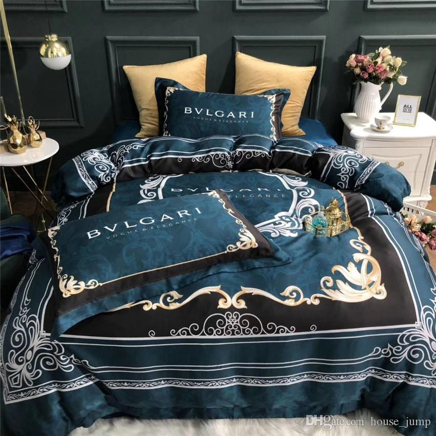 Noble Series Letter BV Bedding Set Classic Fashion Bed Sheets Comforters Set Spring Summer Queen King Size Bedding With Smooth Fabric