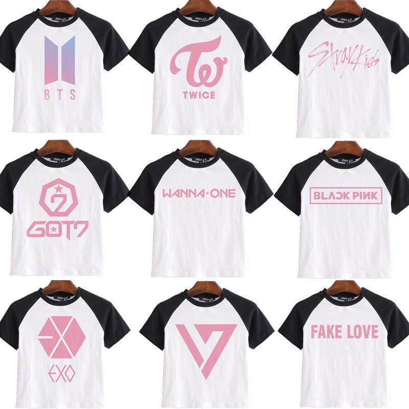bts album 2019 clothes army bomb t shirt women girl EXO blackpink twice  seventeen got 7 stray kids tshirt t-shirt fake love