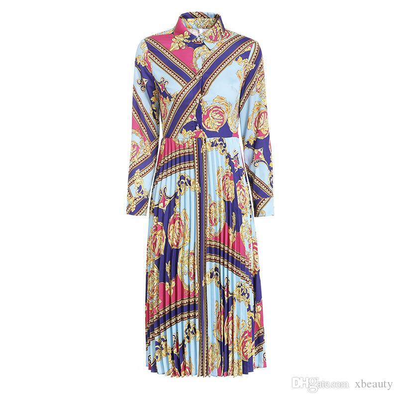 7d03645ec7111 Women's 2019 Runway Dresses Turn Down Collar Long Sleeves Pleated Vintage  Printed High Street Casual Designer Dresses