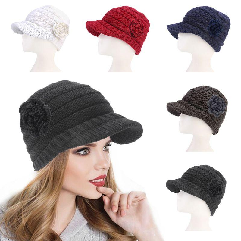 10413b22620 Women Winter Knitted Cap Solid Color Flower Beanie Beret Hat With ...