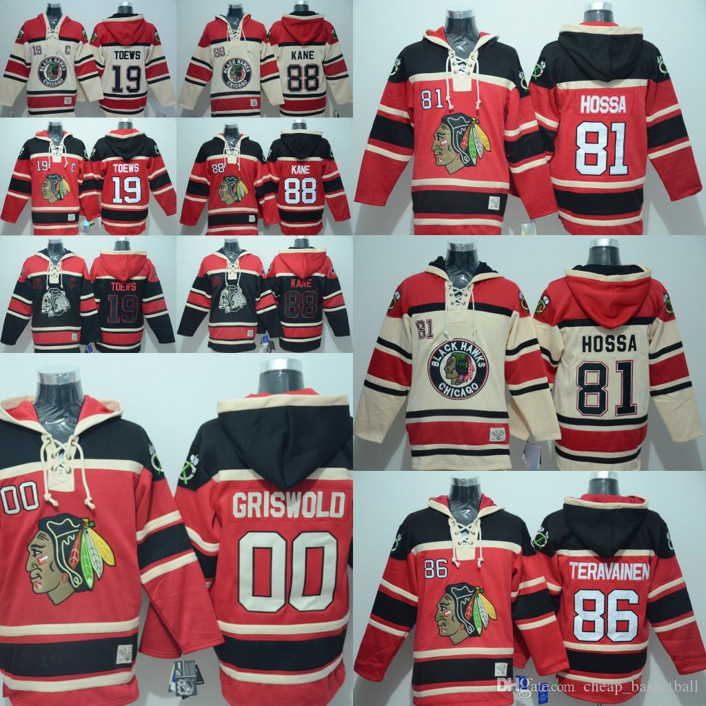Men s Embroidery Blackhawks Hoodie 19 Jonathan Toews 86 Teuvo ... 613f9bafe