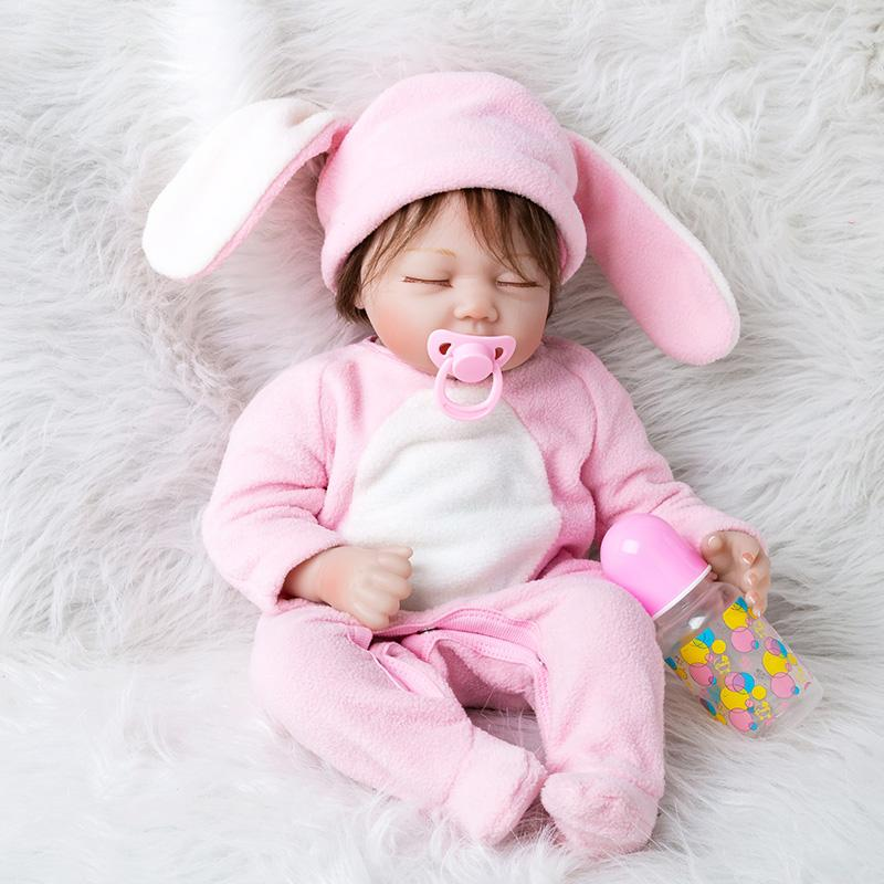 55cm Newborn Baby Toys Set For Girls Silicone Sleeping s with Clothes Realistic Toys Kids Birthday Gifts
