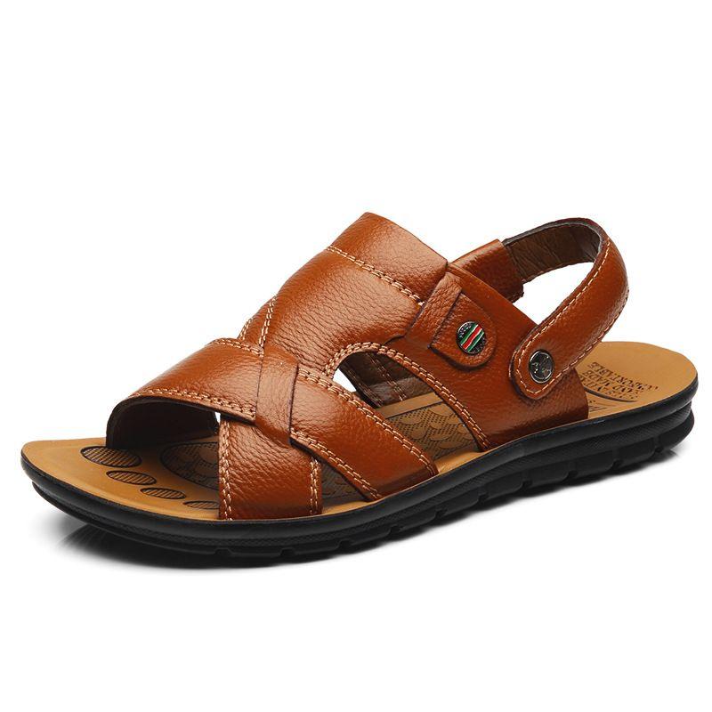 f7668a099e6 Men Sandals Summer New Men Shoes Comfort Beach Shoes Slippers Genuine  Leather Male Adult Footwear Flip Flops 15 Colour