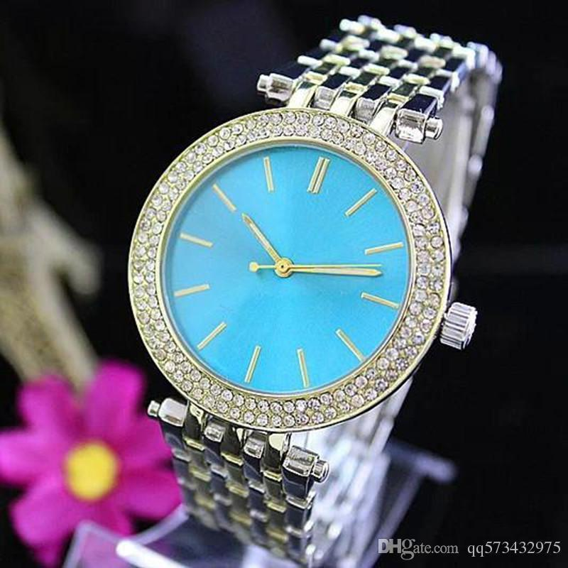 Top fashion Brand Unique M Woman Diamond Watch Free Shipping Fashion Sapphires Ladies Silver Bracelet Stainless Steel Clock Gift For Women
