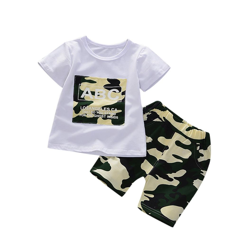 3ad6ca1a8 Compre Conjunto De Ropa Para Niños Camiseta Tops + Pantalones Cortos De  Camuflaje Pantalones Para Niños Pequeños Niños Bebés Trajes Conjunto De Ropa  ...
