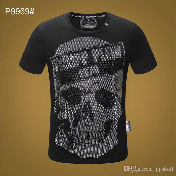 2019 NEW Tide Brand Cotton Women Men Funny T-shirt pp Skull snake tiger Print Top Quality Casual Short Sleeves Luxury Slim Tops Tees p9969
