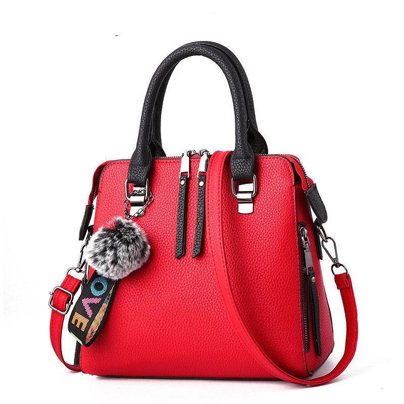 Good Quality Pu Leather Womens Messenger Bag Fur Ball Crossbody Flap Bag  Female Shoulder Bag Solid Color Handbags 2019 For Women Leather Bags For  Women ... 108786346ffa