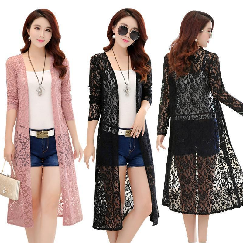d92f23df32bdd 2019 Women Summer Long Lace Kimono Cardigan Plus Size 5XL Nice Long ...