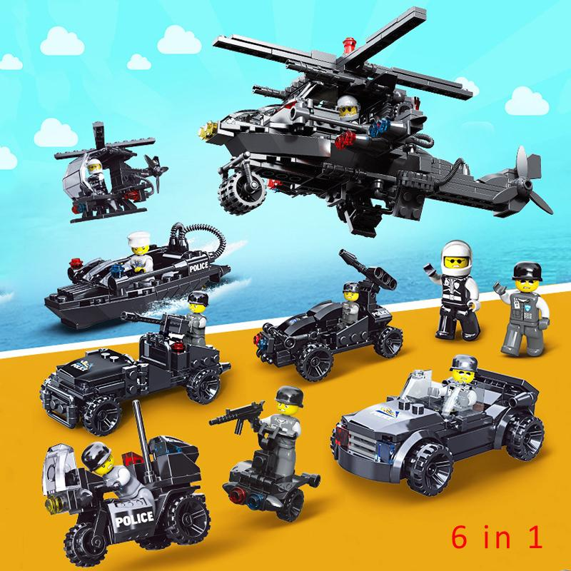 6 in 1 Police Flying Tigers Pick-up Truck Yacht Motorcycle Helicopter Chopper Sports Car Super Car Building Block Brick Policeman Toy Figure