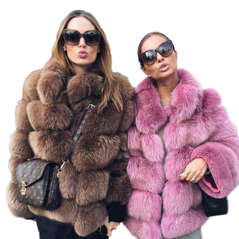 fcd7751483bd 2019 Elegant Faux Fur Coat Women Winter Thick Warm Luxury Fake Fur Coat  2018 Fashion Fluffy Coats Female Jacket Outerwear LJLS078 From Hongzhang