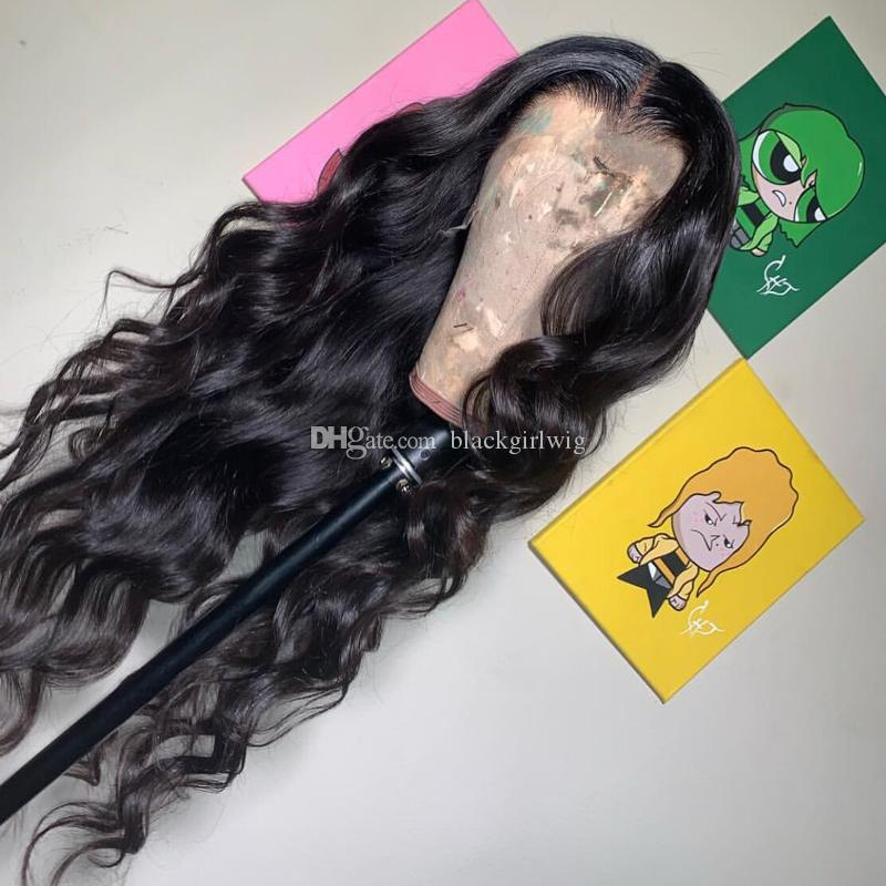 Full Lace Human Hair Wig Wavy Body Wave Brazilian Virgin Hair Lace Wig Natural Pre-plucked Hairline 150% Density Lace Front Wig Glueless