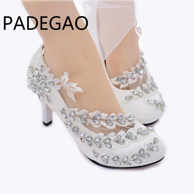 bc7188498 Compre Moda Handmake Rhinestone Zapatos Florales Nupciales Zapatos De Bomba  Zapatos De Dama De Honor Fiesta De La Princesa Tacones Altos A  37.76 Del  ...