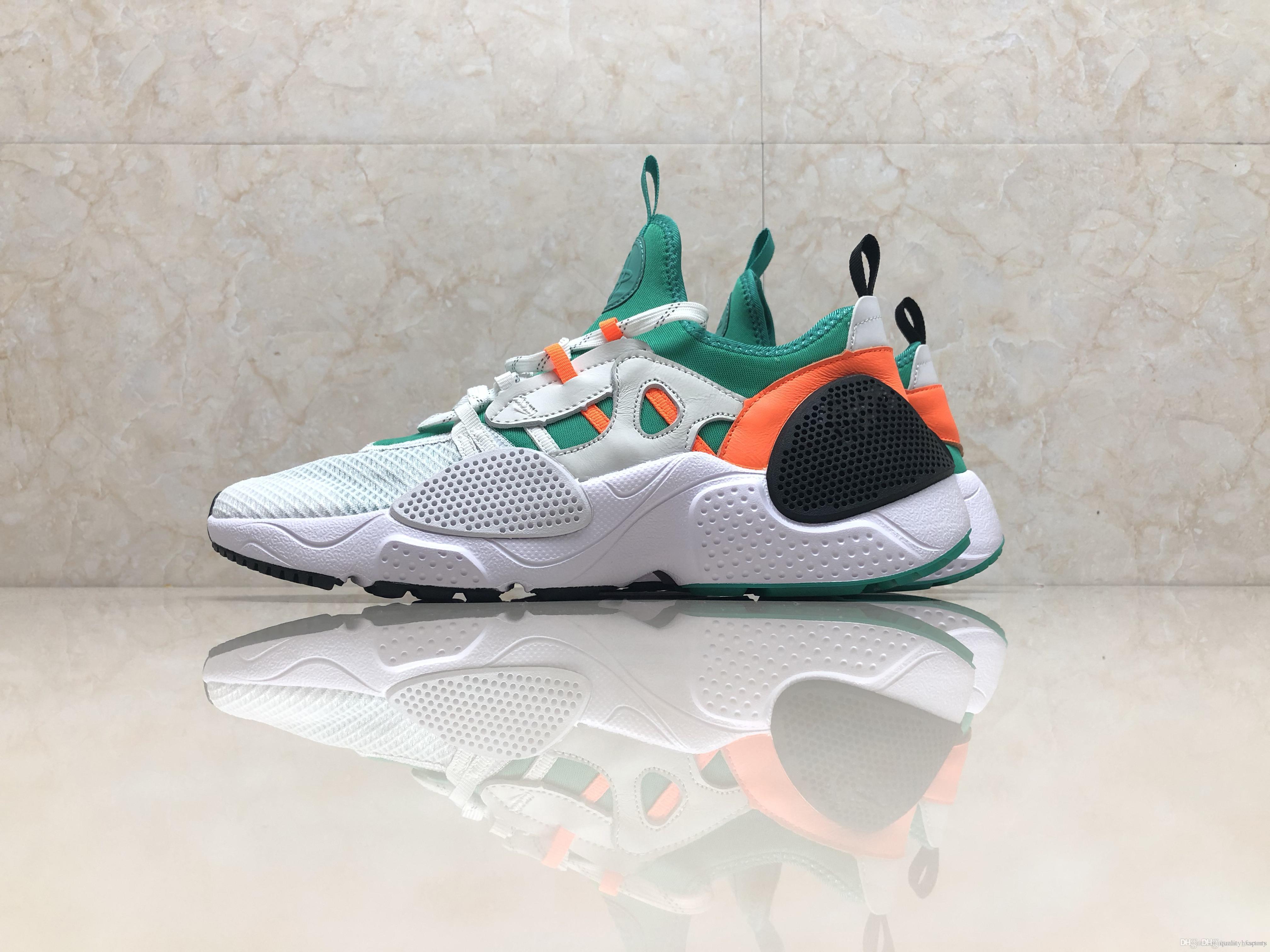 1ace7d6a75196 2019 2019 New Huarache 7 HUARACHE E.D.G.E TXT QS White Orange Green Indigo  Aurora Green New Version Of UTILIT Running Shoes From Hxsports