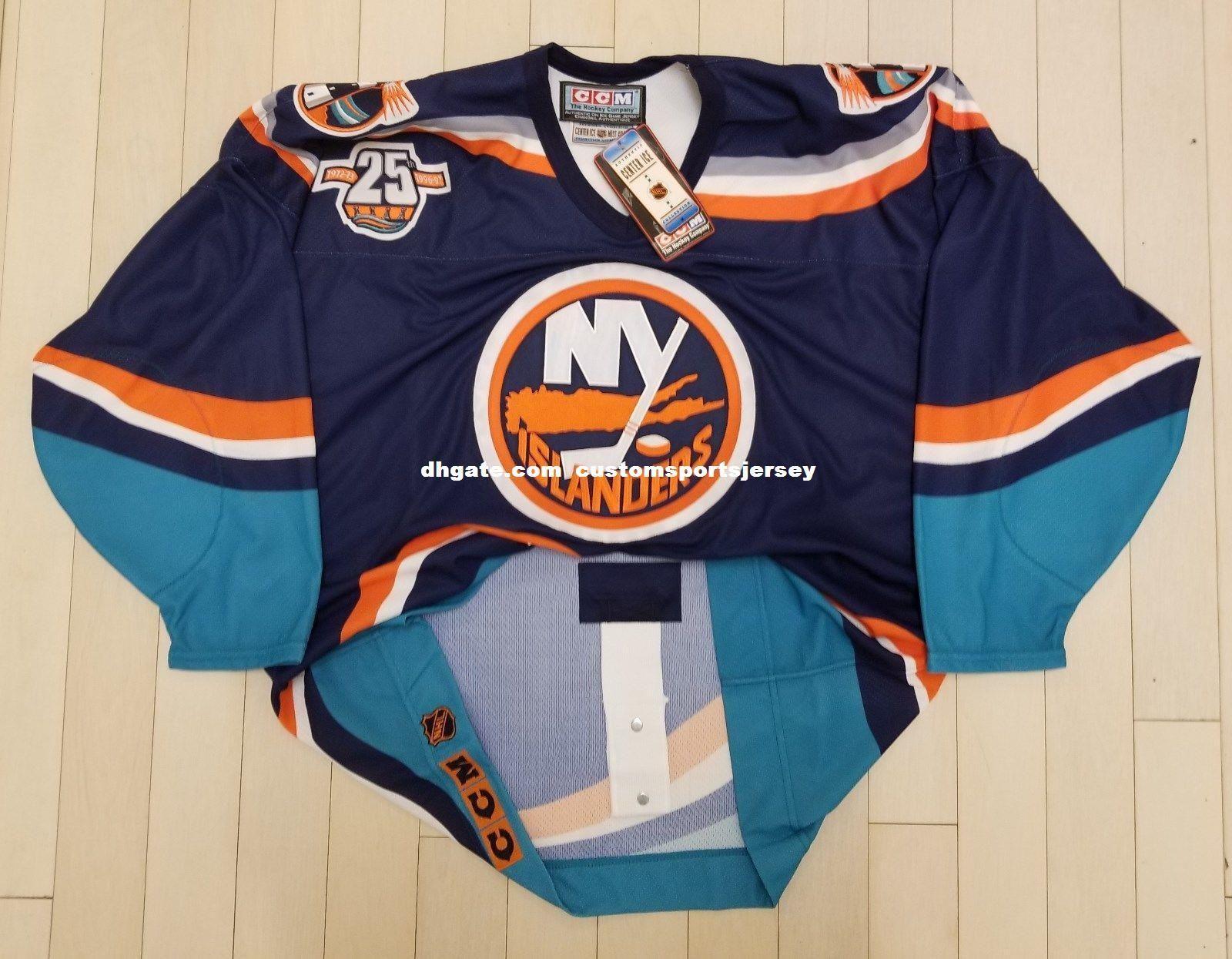 promo code 6c65a 1409a Cheap custom New York Islanders Vintage CCM Center Ice Pro Hockey Jersey  Wave Fisherman Stitched Blank jersey XS-6XL