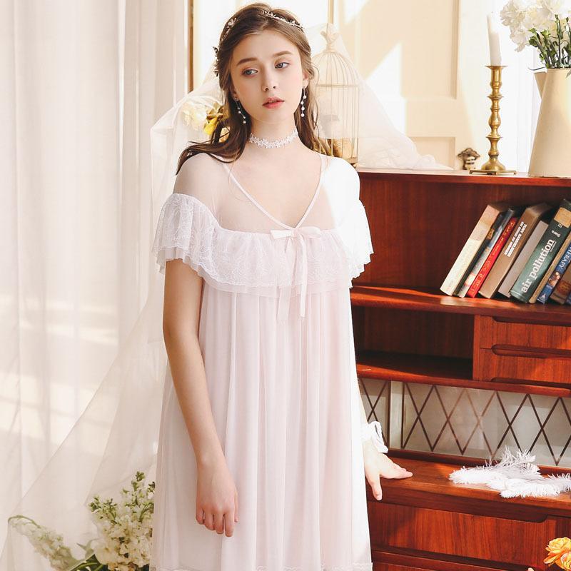 dbd357053093 2019 Новые кружева ночная рубашка принцесса Sleep Lounge беременных женщин  домашнее ...