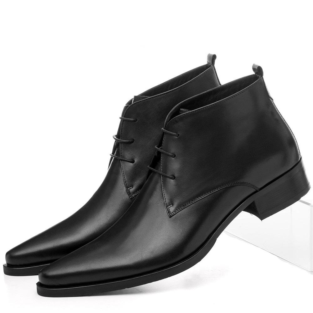5ce68506 Compre Gran Tamaño Eur46 Punta Estrecha Zapatos De Vestir Para Hombre Botines  Zapatos De Boda Zapatos De Negocios De Cuero Genuino Masculino A $135.84  Del ...