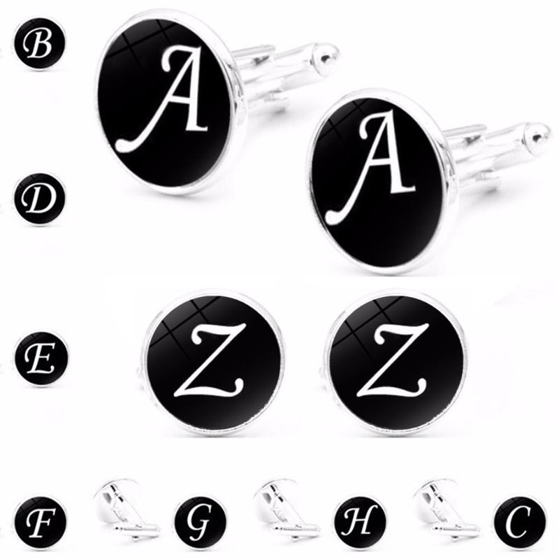 English letter Cuff Link A-Z Cuff Links shirts Cufflinks man's French cufflinks wedding Best Fathers Day Xmas gift free TNT Fedex