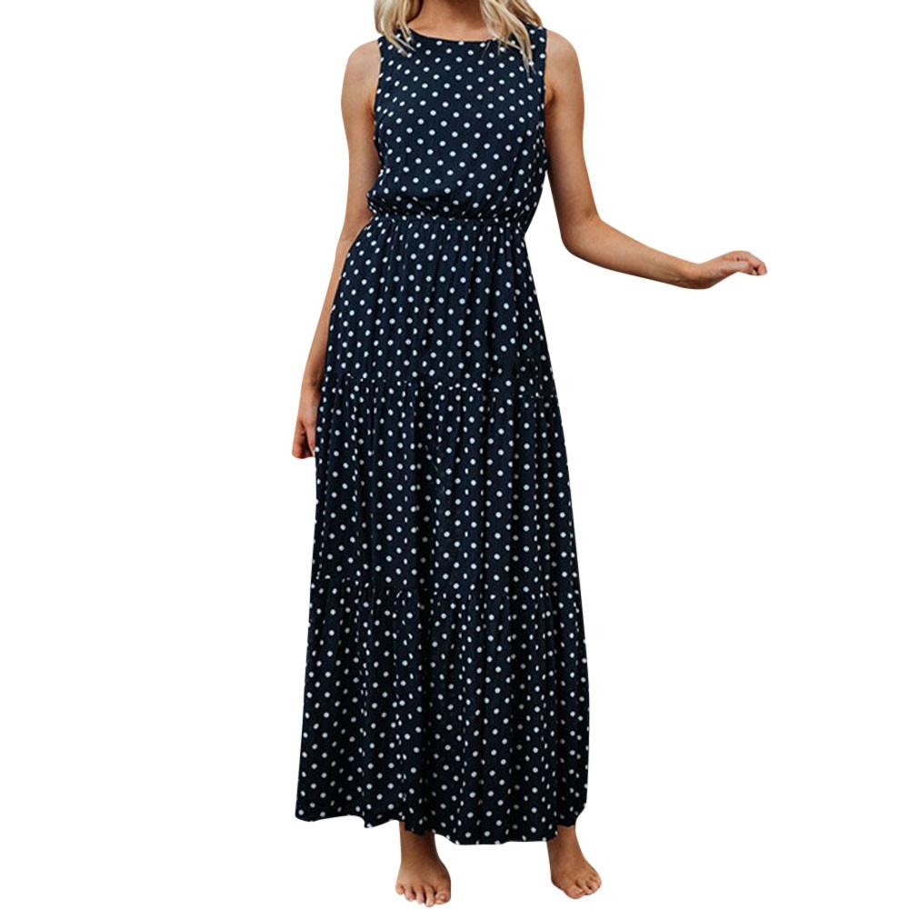 90e8f499bd 2019 New Fashion Summer Women Ladies Dot Printing Round Neck Sleeveless  Party Long Dress Hot Sale Maxi Beach Dresses Black Woman Dress Sundress  Womens From ...