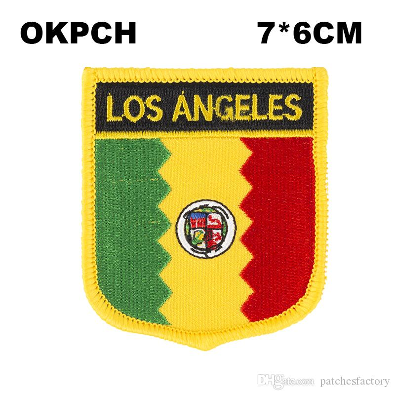Los Angeles Flag Embroidery Iron on Patch Embroidery Patches Badges for Clothing