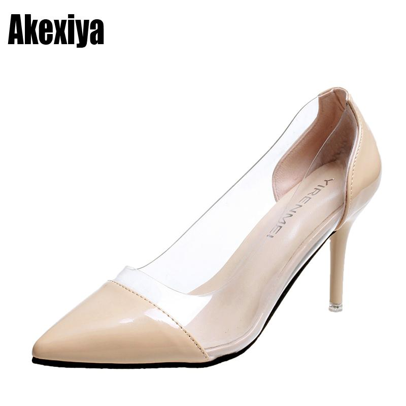 afee7c1e831 Dress Shoes Women Pumps 2019 Transparent High Heels Sexy Pointed Toe Slip  On Wedding Party For Lady White Black Beige White Red D527 Walking Shoes  Flat ...