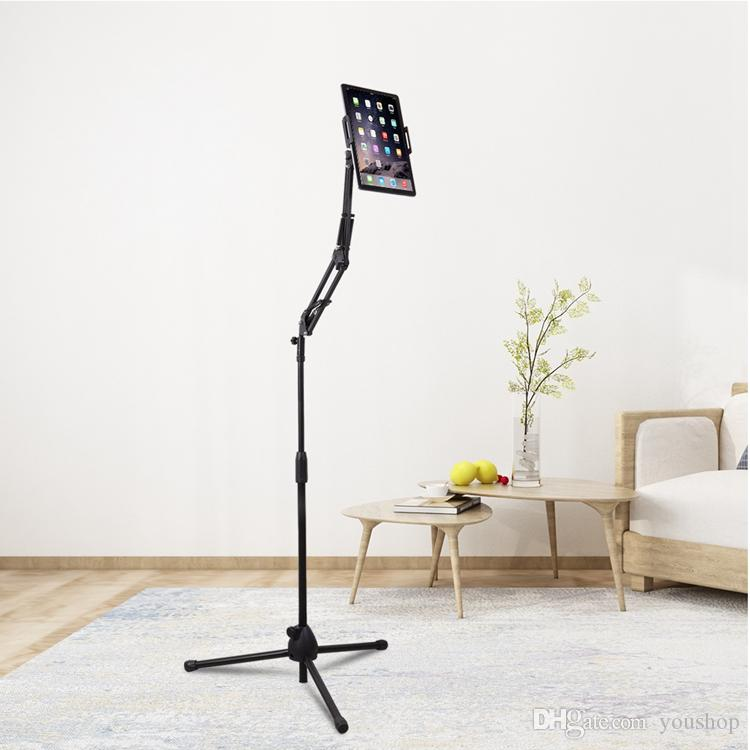 Flexible Arm Tablet Floor Stand Lazy Gooseneck Cell Phone Holder 360 Degree Rotation with Tripod Base