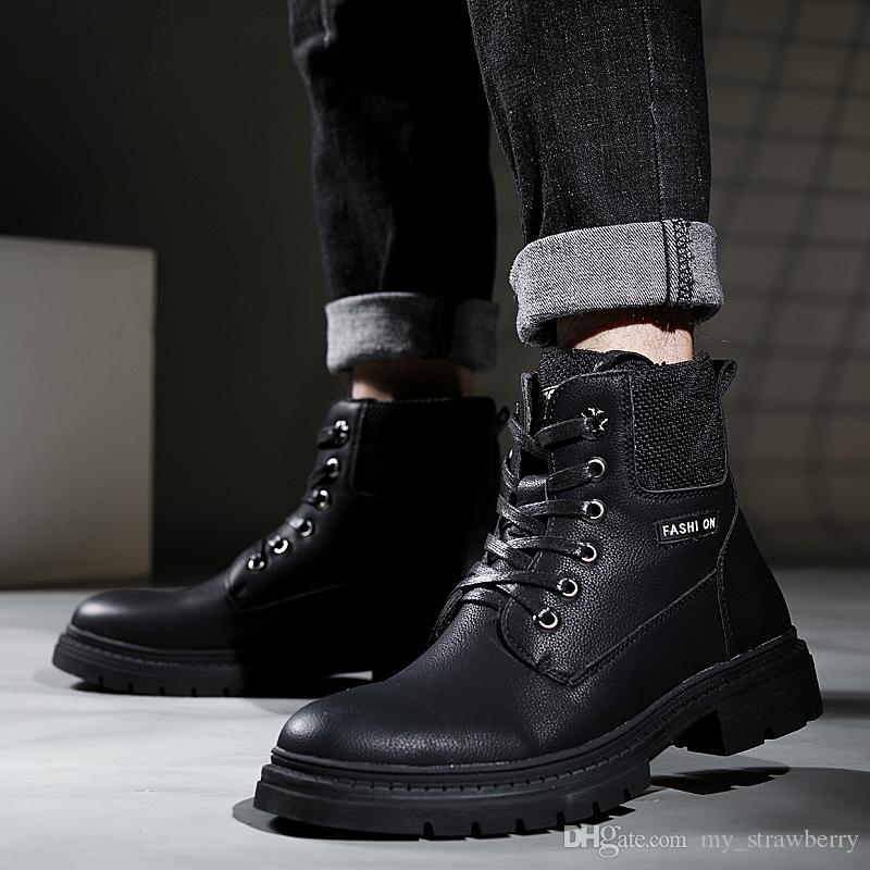 5314ce99fbd Compre Moda Hombre Botas Martin Botas Estilo Británico Brogue Botas Negras  Zapatos De Hombre Para Hombre Botas De Cuero Tamaño: 38 43 A $38.2 Del ...