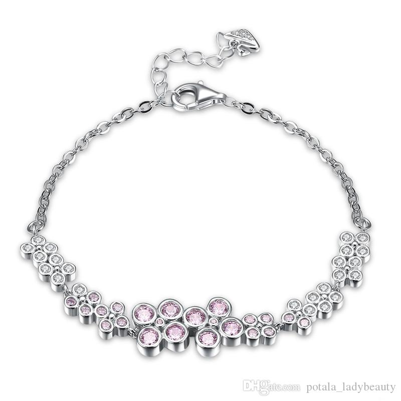 1e5098c3d Pandora Shining Series Bracelet S925 Sterling Silver Hipster European Pink  Zircon Diamond Twist Chains Charm Bracelets Party Gifts Swan Link Charms For  A ...