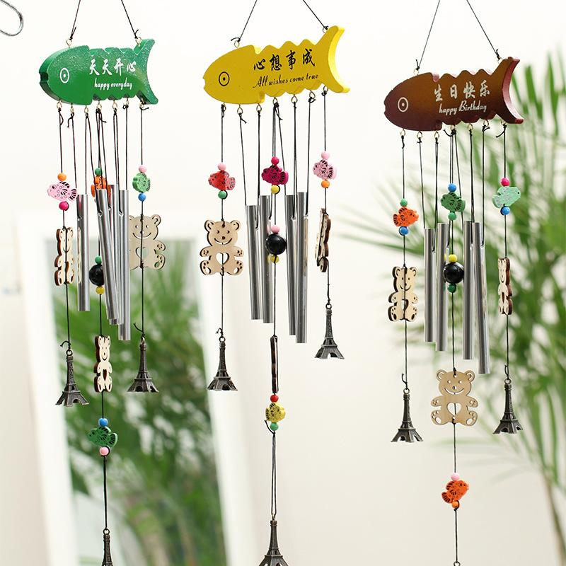 4 Tubes Wood Wind Chimes Tower Windchime Wall Hanging Decoration Home Outdoor Living Happy Everyday Birthday Gift