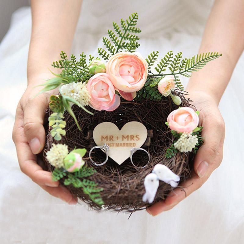 1pcs custom name Creative Handmade Forest Nest Engagement marriage proposal  Rings holders Box decoration wedding day Ring pillow
