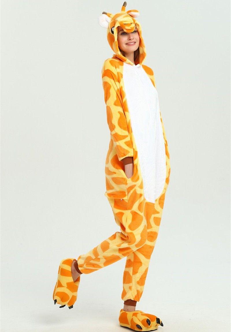 Giraffe Animal Kigurumi Anime Onesie Children Pajama Adult Fleece Jumpsuit  Funny Sleepwear Women Girl Sleepwear KD 073 Teen Halloween Costumes Cat  Halloween ... 1ce4c2963