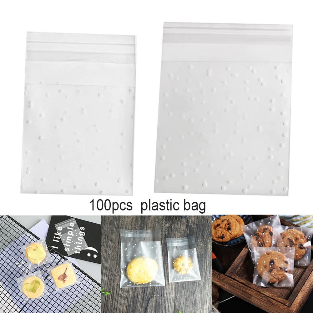 100pcs Frosted Transparent Baking Self Adhesive Dots Print Cookie Bag Party Soap Wedding Packaging Pouch Birthday Chocolate Mini