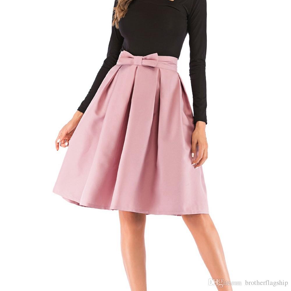 f25984d3ab7 2019 Womens High Waist Pleated Skirt Vintage Knee Length A Line Big Bow  Side Zipper Skater Skirts Faldas From Brotherflagship
