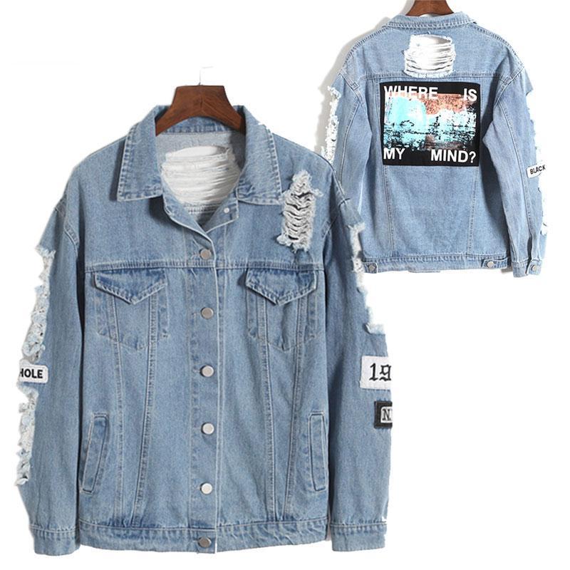 bd143260a850 Women Winter Spring Denim Jacket Jeans Jacket Men Denim Broken Hole BF  Loose Jaqueta Feminina Jeans Women Basic Coats Loose Overcoats For Men  Online Men ...