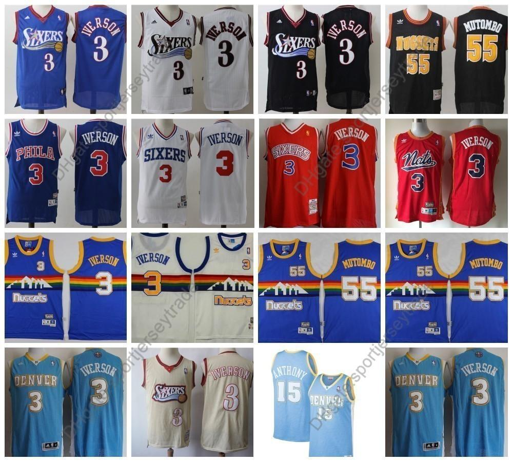 sale retailer 05fe0 7990a Top Quality Vintage #3 Denver Iverson Nuggets Carmelo Anthony Mens 15  Dikembe Mutombo #55 Allen Iverson Basketball Jersey Stitched S-XXXL