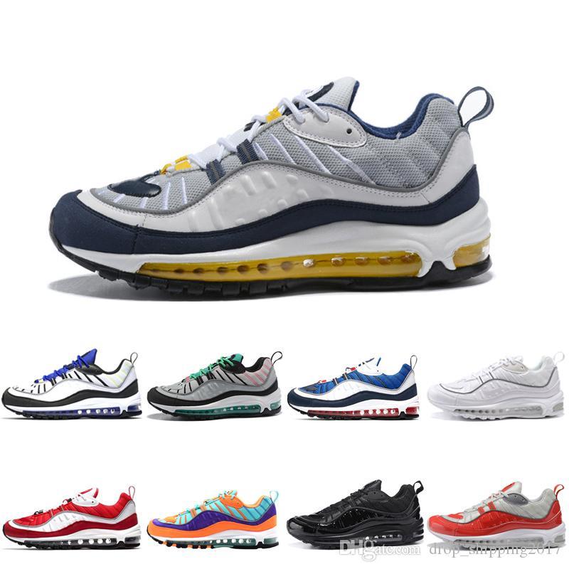nike air max 98 shoes 2019 de calidad superior zapatos corrientes de los hombres zapatillas de deporte blanco amarillo rojo negro nueva moda zapatos
