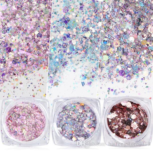 1 Box Nail Mermaid Glitter Flakes Sparkly 3D Hexagon Colorful Sequins Spangles Polish Manicure Nails Art Decorations