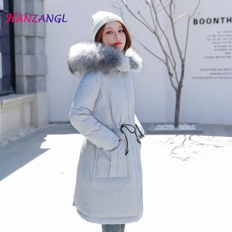 296e92e51f52 2019 HANZANGL Winter Down Jacket 2018 Real White Duck Down Coat Raccoon Fur  Collar Big Pocket Loose Thick Warm Women Coat Large Size From Vikey10, ...