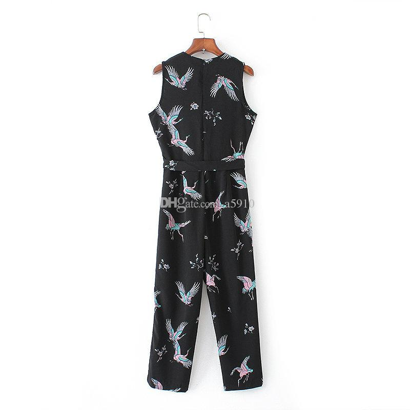 41d18921640 Women Cute Crane Print Jumpsuits Bow Tie Sashes Pockets Sleeveless Pleated Rompers  Female Casual Retro Playsuits Jumpsuits Playsuits Rompers Online with ...