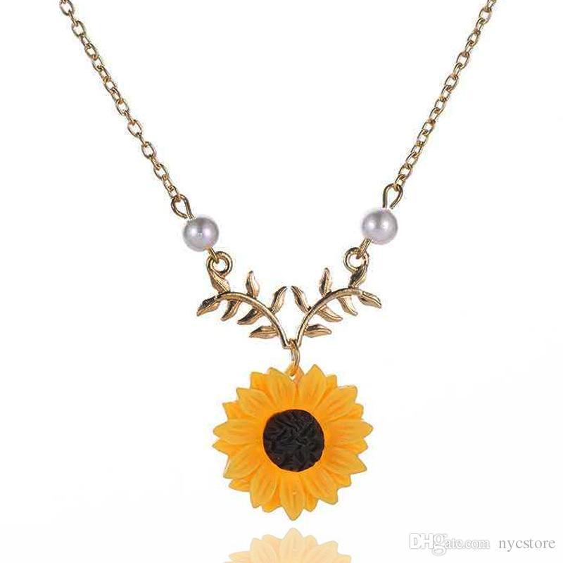 149878a28980 Joyería simple perla sol flor collar moda girasol colgante collares joyería  al por mayor