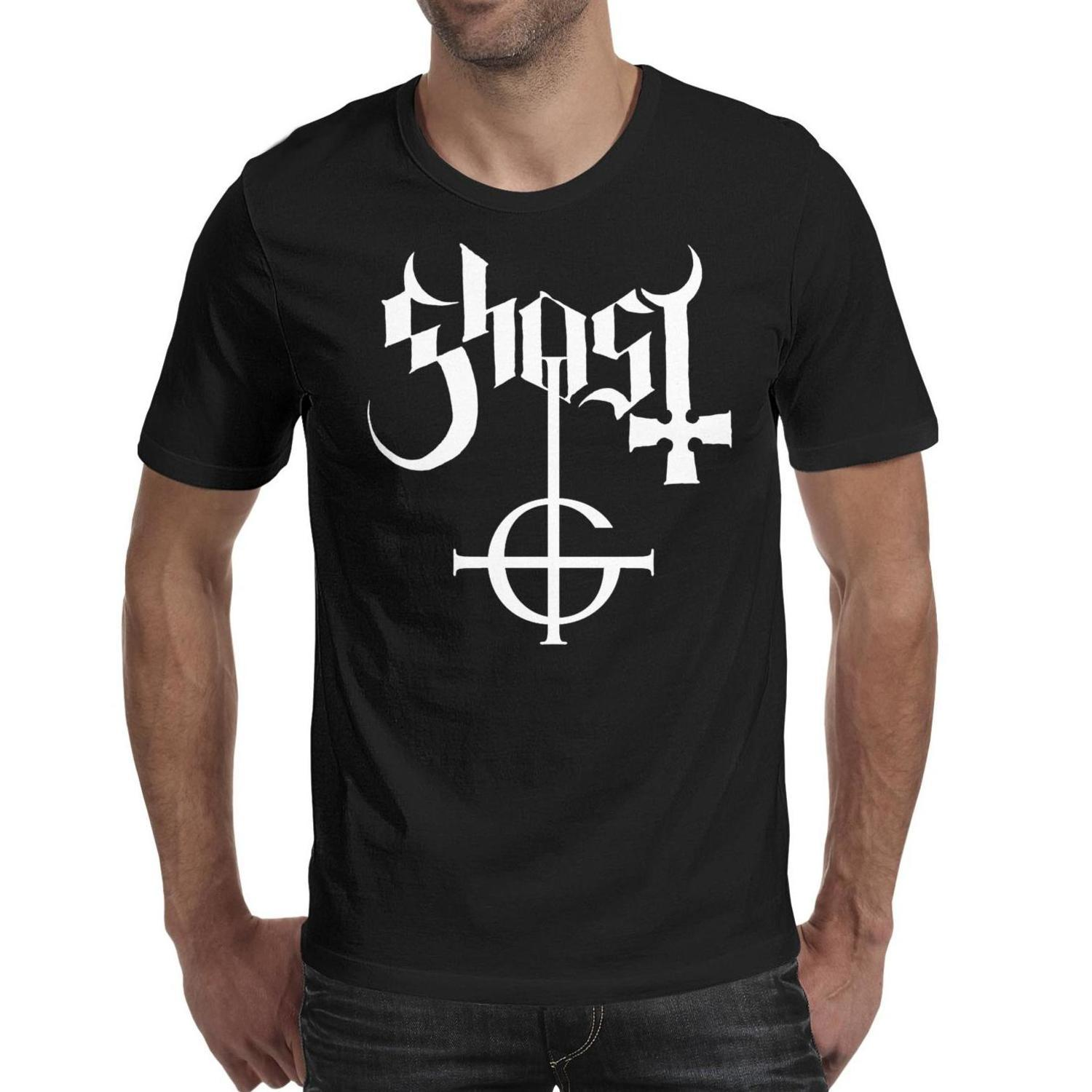 Ghost-Popular-Swedish-arts-heavy metal band logo black t shirt,shirts,t shirts,tee shirts printing funny vintage designer crazy friends athl
