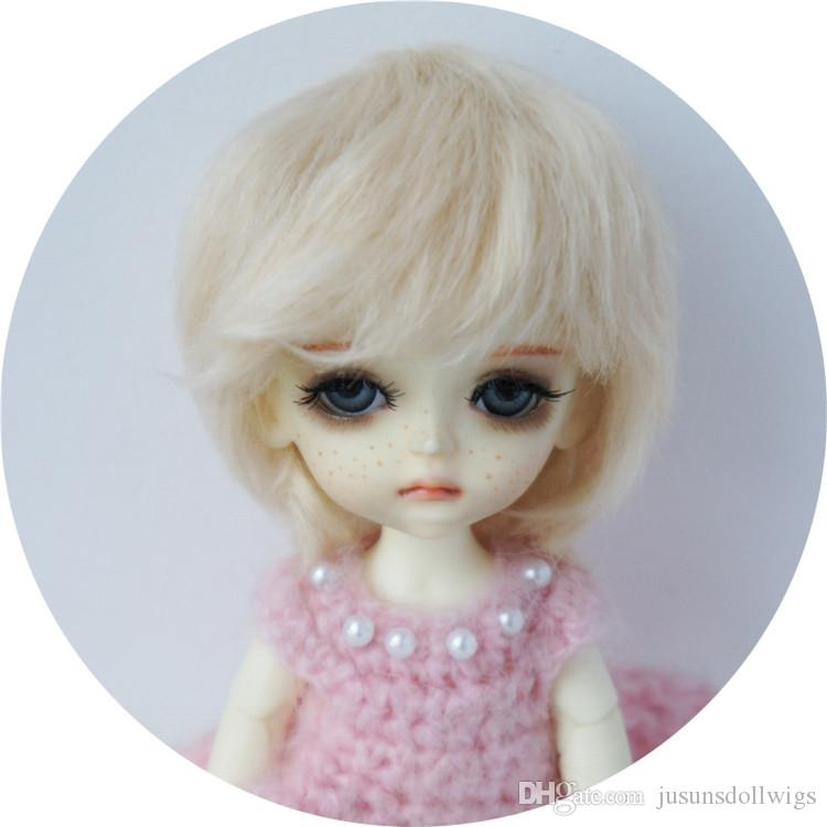1//8 Synthetic Mohair BJD Doll Hair 5-6inch Lovely Two Curly Pony Doll Wig Lati Y