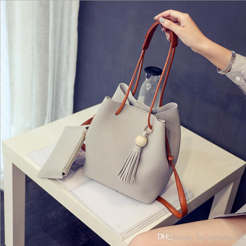 908bcf2d9c Handbags Women Bags Tassel Bucket Tote Bag NEW Fashion Crossbody Bag PU  Leather Shoulder Composite Bag Large Handbags Black Leather Handbags From  ...