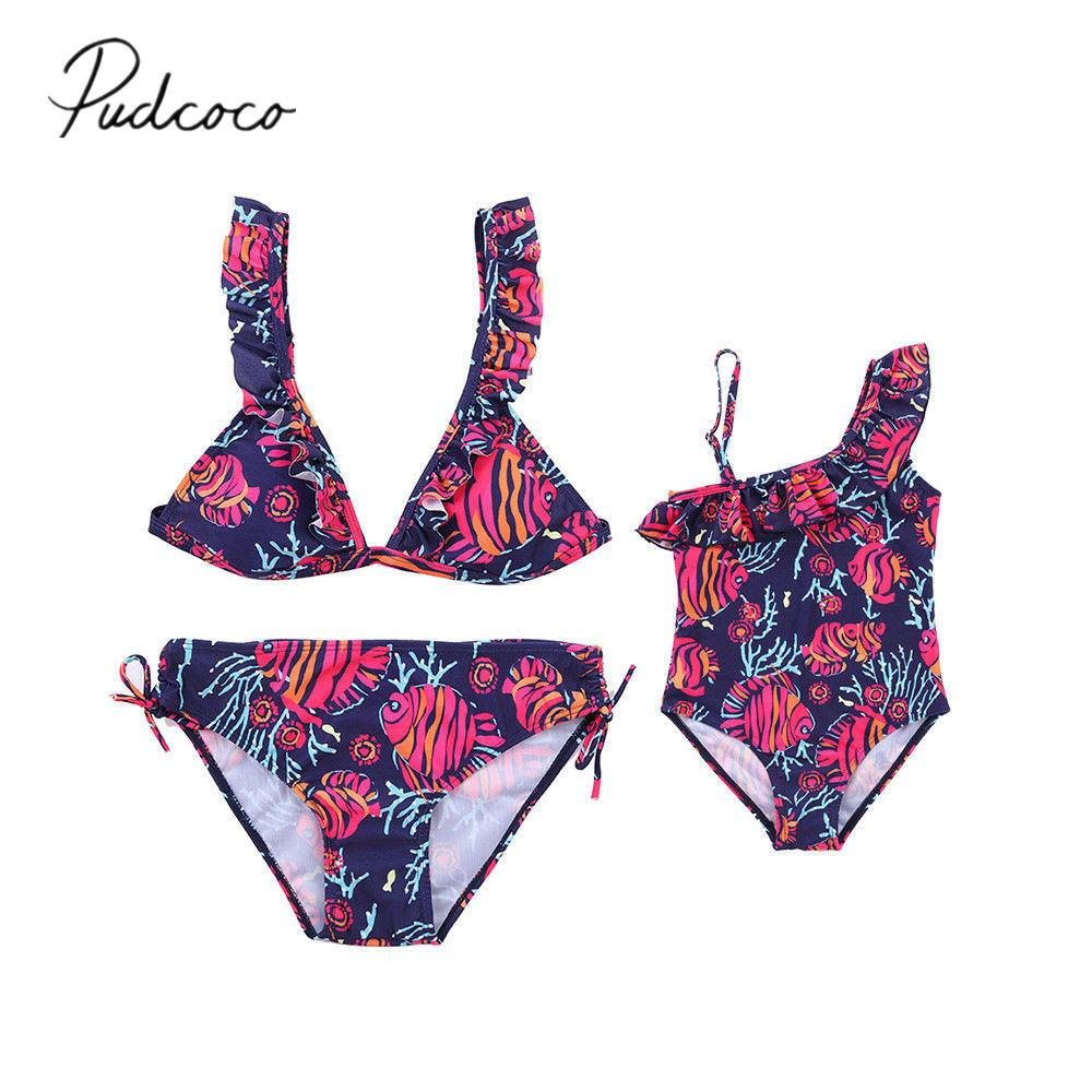 413a8e7c00 2019 Brand New Women Kids Family Matching Swimwear Mother Daughter Bikini  Set Swimsuit Bathing Suit Tropical Fish Seaweed Print Matching Kids Outfits  For ...