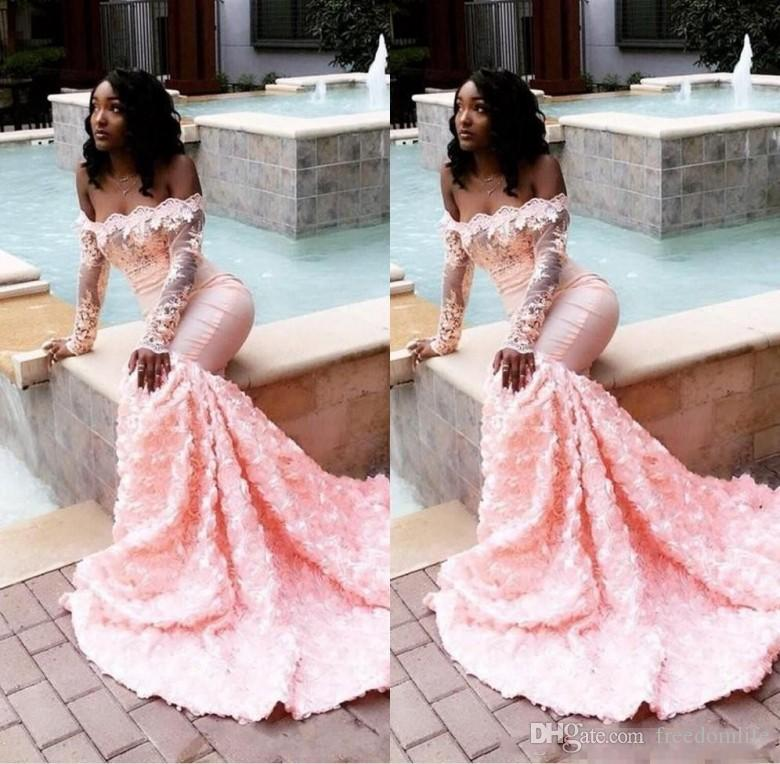 2019 Beautiful African Pink Prom Dresses Long Sleeves Lace Appliques 3D  Flowers Adorned Evening Gowns Formal Black Girls Party Dress Special  Occasion ... 39ff2248e1d1