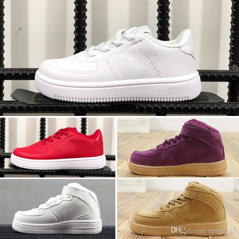 Nike air max force fly Niños de alta calidad 1 Westbrook Rojo Azul Blanco Negro niños zapatos Polvo azul fresco gris acero zapatillas niño niña